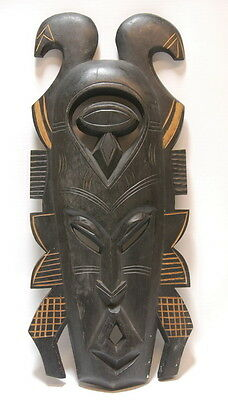 Vintage Hand Carved Wood African God Mask Mandinka Tribal Art Work