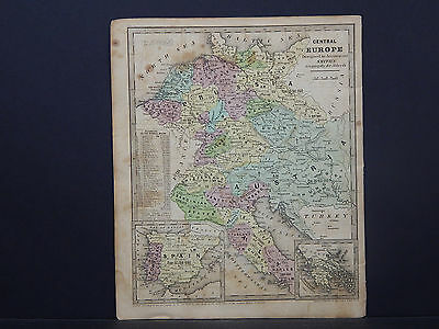 Central Europe, Austria, Prussia, Italy, Spain Map 1843 Smiths Geography R9#73