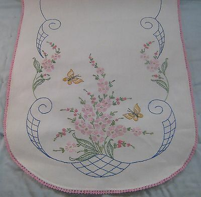 Antique Vintage Hand Embroidered Table Dresser Runner Flowers Butterfly Floral