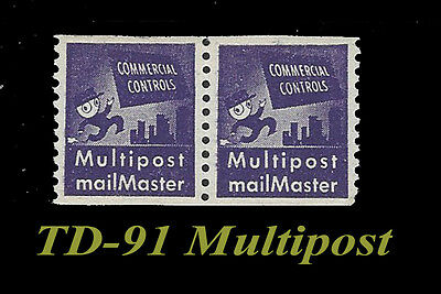 TD-91 Multipost Test Stamp vf NH Commercial Controls Purple Coil pair