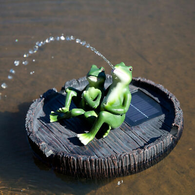 Solar Water Fountain Floating Frog Spitter Feature for Pond Pool Garden