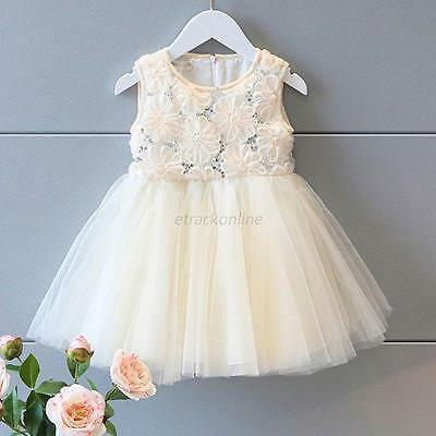 Kids Baby Girls Princess Sequins Flower Party Wedding Tulle Tutu Pageant Dresses