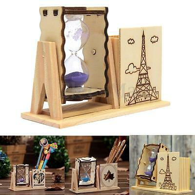 Wood Sand Glass Hourglass Timer Clock Holder Office Decor Gifts Adorable SOL
