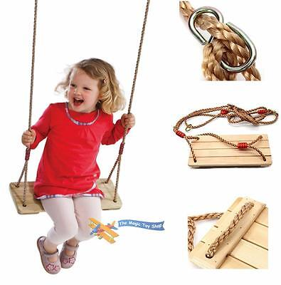 Child Garden Wooden Swing Seat with Adjustable Rope For Tree Climbing Frame Play