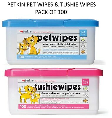 Petkin Pet Tushie Hygienic Fresh Scented Dog Cat Mess Dirt Remover Wipes 100 Pk