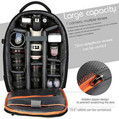 K&F Concept Waterproof DSLR SLR Backpack Rucksack Bag for Canon Nikon Sony L