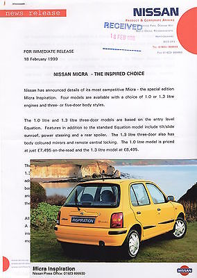 Nissan Micra Mk2 'Inspiration' Special Edition Press Release/Photograph - 1999