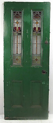 Vintage American Stained Glass Exterior Door Circa 1950s (8821)NJ
