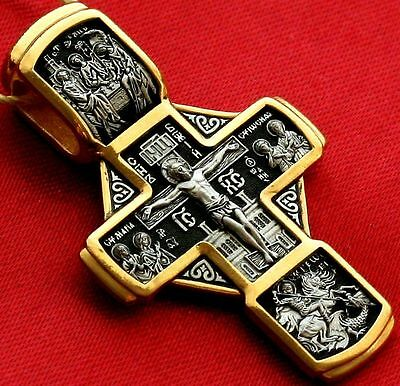 Big Russian Orthodox Cross, Silver 925+.999 Gold Plating. 24K. St.nicholas. New