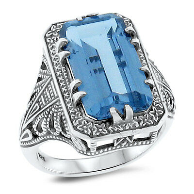 4.5 Ct SIM AQUAMARINE ANTIQUE DESIGN .925 STERLING SILVER DECO RING Sz 9,   #120