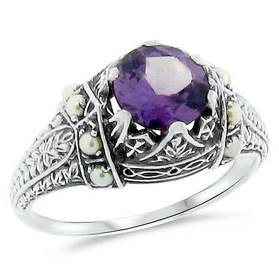 Lab Alexandrite Seed Pearl Victorian Antique Design 925 Silver Ring Size 10,#132