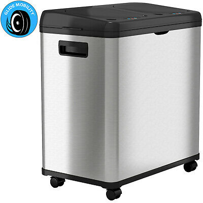 16 Gallon Dual Stainless Steel Touchless Sensor Automatic Recycle Trash Can