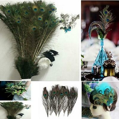 Lots 100PCS Wholesale Natural Real Peacock Tail Eye Feathers 23-30cm/10-12Inches