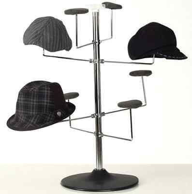 Counter 8 Hat Display Rack - (Chrome Finish w/Black Plastic Base)