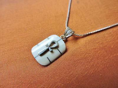Antique Egyptian Silver Pendant Necklace Chain of Ancient CROSS ANKH..STAMPED