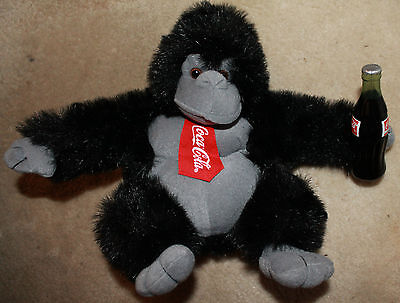 "11"" Coca-Cola Coke Stuffed Animal Gorilla Great Condition with Tie Advertising"