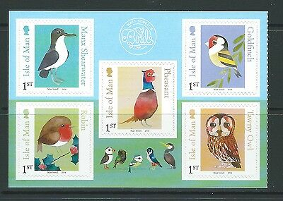 Isle Of Man 2016  Birds Self Adhesive Set Of 5 Unmounted Mint, Mnh