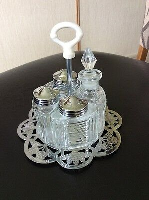 A Vintage Silver And Glass Condiment Set