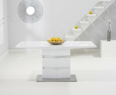 Simpson 160cm High Gloss Furniture White Dining Table