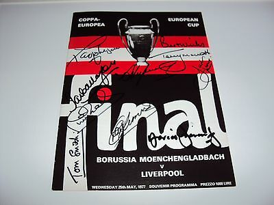 LIVERPOOL 1977 EUROPEAN CUP REPRINT PROGRAMME SIGNED x9 HEIGHWAY SMITH CALLAGHAN