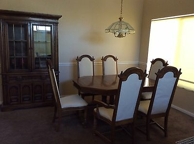 antique formal dining table set eight piece hutch chair good condition