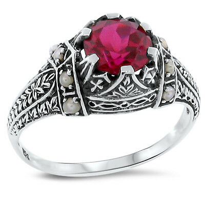 Lab Ruby Seed Pearl Antique Victorian Style 925 Sterling Silver Ring Size 9,#169