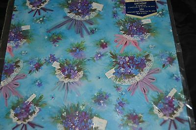 Vintage Happy Birthday Gift Wrap PURPLE VIOLETS Bouquet Ambassador Sealed!