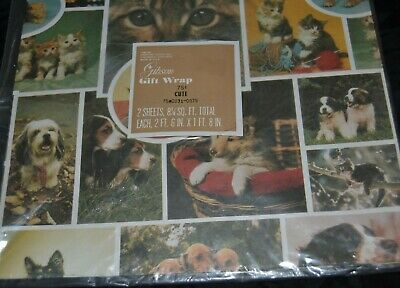 Vtg ALL OCCASION Gift Wrap PUPPIES SWEET KITTEN EYES Gibson Sealed Photo Pic