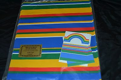 Vtg 1980's BRIGHT & BOLD Gift Wrap w/Tags from Current STRIPED COLORFUL