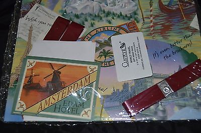 Vintage 80's WORLD TRAVEL Gift Wrap/Tags/Ribbon from Current PARIS AMSTERDAM