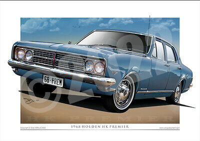 HK HOLDEN Premier Art Print - 1968 Holden HK Car Drawing In 8 Glorious Colours