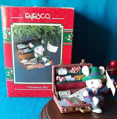 Enesco Ornament 1992 93 Christmas Biz Business Mouse Mice Rare