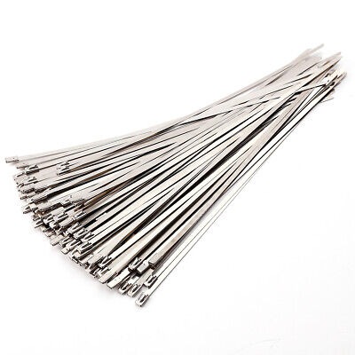 100 Bridas para cables Bridas de acero inoxidable Bloqueo Metal Cable Ties 300mm