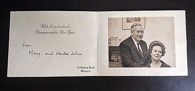 Harold & Mary Wilson - Former Prime Minister - Excellent Signed Greetings Card