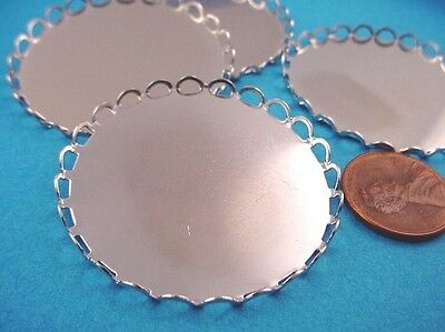 Silver Tone  Round Lace Edge Bezel Cups 40mm   4 Pieces