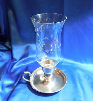 Vintage Pewter Hand Held Candle Holder Lamp With Handle & Etched Glass Globe