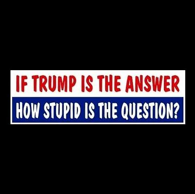 "Funny ""IF TRUMP IS THE ANSWER"" anti Republican BUMPER STICKER car decal Donald"