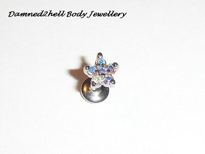 ONE CLAW SET AB CRYSTAL FLOWER LABRET STUD 1.6mm (14g) INTERNAL THREAD