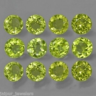 12 Pc WHOLESALE LOT OF 5x5 mm ROUND FACET NATURAL EARTH MINED PERIDOT GEMSTONE