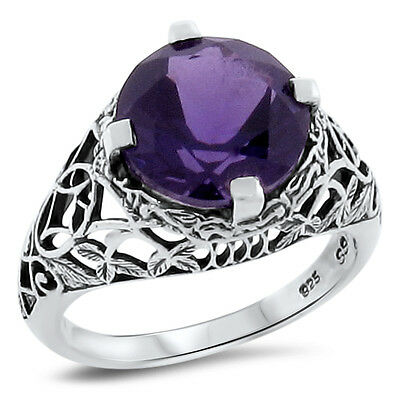 3 Ct LAB AMETHYST .925 STERLING SILVER ANTIQUE ART DECO STYLE RING SIZE 8,#155