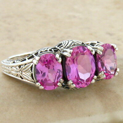 Pink Lab Sapphire 3 Stone 925 Sterling Silver Antique Style Ring Sz 7.75,#216