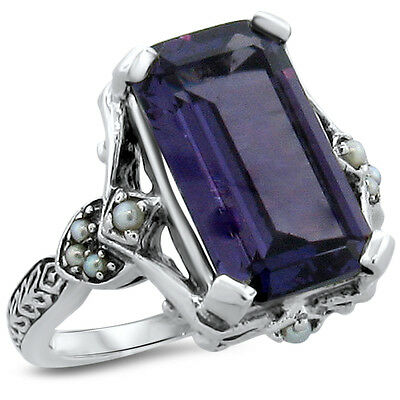 6.5 Ct. Lab Alexandrite Antique Design .925 Sterling Silver Ring Size 5.75, #208