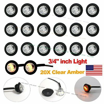 "20X 3/4"" Clear Amber LED Clerance Marker Bullet Lights Lamps Truck Trailer Bus"