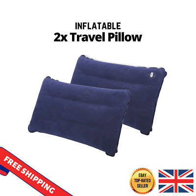 NEW 2 x Blue Inflatable Pillow Camping Travel Vacation Soft Blow-Up