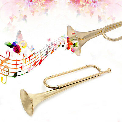 B Flat Gold Lacquer Finish for Orchestra School Band  Tone Cavalry Trumpet Bugle
