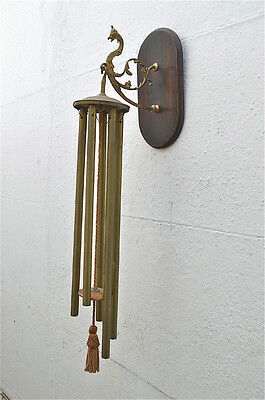 Original antique hanging wall chimes brass and oak dragon wind chime