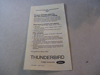 Ford Thunderbird Product Changes Affecting the 1972 Thunderbird Catalog Brochure