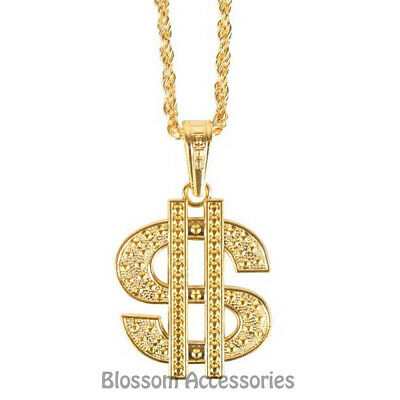 A813 Gold Dollar Sign $ Necklace Chain Rapper Hip Hop Bling 90s 80s Costume