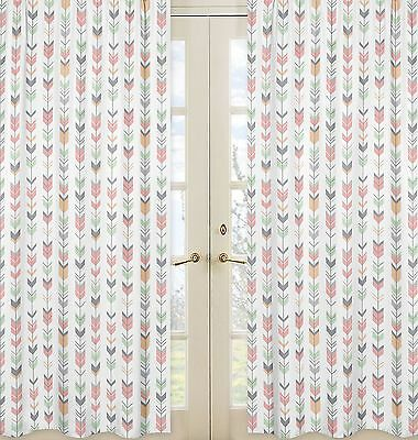 Sweet Jojo Window Treatment Panel Curtain Covering Coral Woodland Arrow Bedding