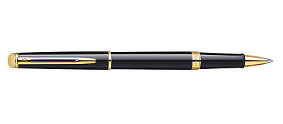 Waterman Hemisphere Black Lacquer  & Gold Trim Rollerball Pen New  Box S0920650